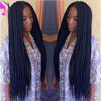 Beautiful Synthetic Box Braided Lace Front wig KANEKALONE Braiding Synthetic Lace front Wig for africa american women-in Synthetic Wigs from Health & Beauty on Aliexpress.com | Alibaba Group