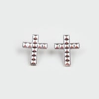 Full Tilt Pyramid Stud Cross Earrings Silver One Size For Women 21224414001