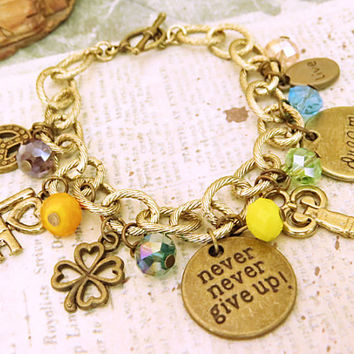 Never give up. affirmation style charm bracelet