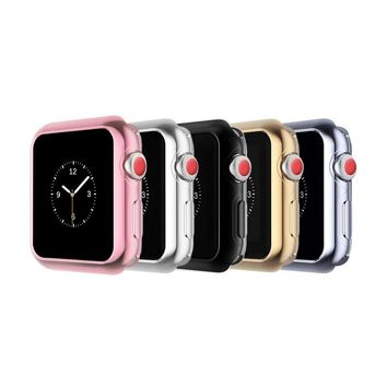 Apple Watch Case, top4cus Scratch-resistant Flexible Soft Silicone Lightweight Plated Protector Case for Apple Watch Series 3 Series 2 Series 1 Sport and Edtion (38mm, Pure-5 in 1)