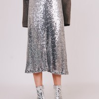 Sequin A-Line Mid-Skirt