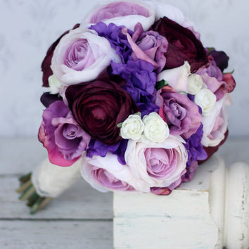 Silk Bride Bouquet Shabby Chic Rustic Wedding Purple (item F10559)