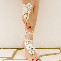 Crochet barefoot sandals cream nude shoes wedding by Lasunka