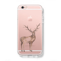 Deer iPhone 6 Case iPhone 6s Plus Case Galaxy S6 Edge Clear Hard Case C129
