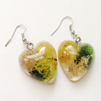Resin Moss Heart Earrings Terrarium Woodland Style Fishook Jewelry