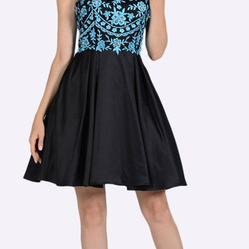 Embroidered Illusion Bodice Homecoming Short Dress Teal