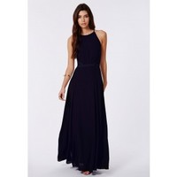 Missguided - Kamilinka Lace Backless Maxi Dress In Navy