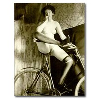 Old Postcard - Nude on a Bicycle