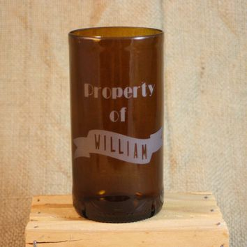 Drinking Glass From Upcycled Beer Bottle, Recycled Beer Bottle, Sand-Etched Glass, Personalilzed Drinking Glass, Bar Ware