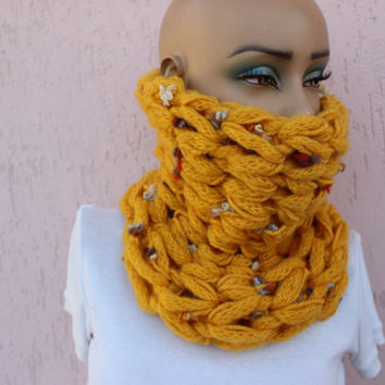Chunky Cowl Yellow Knit Cowl Winter Cowl Mustad Cowl  Beanie Set Wool Circle Scarf EXPRESS SHIPPING