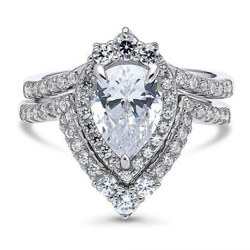 A Perfect 1.8CT Pear Cut CZ Crown Halo Chevron Heirloom Bridal Set