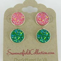 Duo Stud Earrings Silver-tone Pink and Green AB Faux Druzy Stone 12mm Set