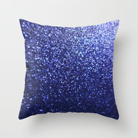 Royal Blue Glitter Sparkles Throw Pillow by xjen94