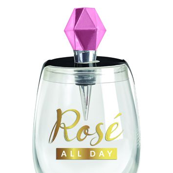 Rosé All Day Stemless Wine Glass & Bottle Stopper