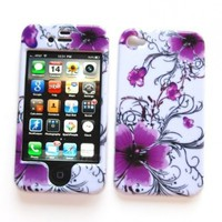 """Snap-on Protector Hard Case Image Cover """"Artistic Purple Flowers"""" Design"""" for Apple iPhone 4 & 4S:Amazon:Cell Phones & Accessories"""
