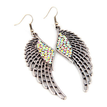 antiqued silver angel wing earrings with crystal detail