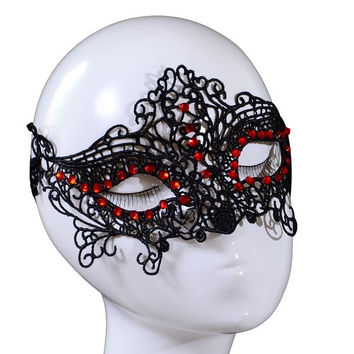 Yazilind Red Crystal Design Masquerade Party Fancy Dress Black Lace Mask (Color: Black) = 1946252292
