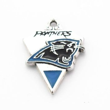 Hot Sale 10pcs Enamel Carolina Panthers Football Team Arrows Dangle Charms Fit Sports Necklace Earring DIY Jewelry Making