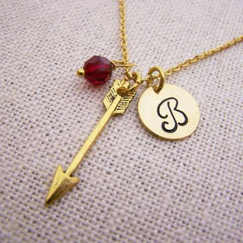 Arrow Necklace - Gold Initial Necklace - Birthstone Necklace - Custom Initial Necklace - Personalized Necklace - Arrow Charm