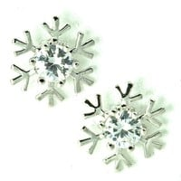 Crystal Accent 14K White Gold Plated Small Snow Flake Stud Earrings