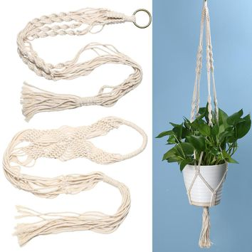 Vintage Knotted Green Plant Hanger Basket Flowerpot Holder Macrame Lifting Rope Garden Home Decoration Flower Plant Display