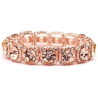 Rose Gold Bridal Stretch Bracelet with Solitaires