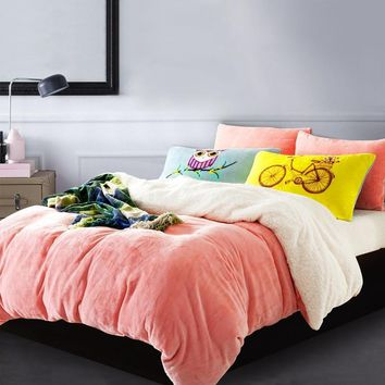 Cool AB Side Bedding Set Twin Queen King Size Duvet Cover Set Flannel +Lamb 3pcs Bedclothes and Pillowcase Adult Bed SetAT_93_12