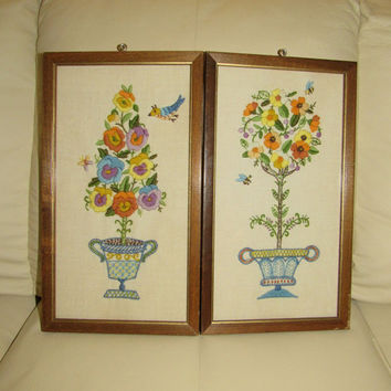 Mid Century Framed Embroidered Floral Wall Art