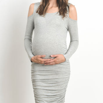 Heather Gray Cold-Shoulder Maternity Bodycon Dress