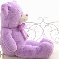 New Teddy Bear Purple Cute Plush ribbon tie Doll Pillow Toy Stuffed Animal 60cm
