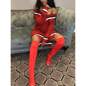 New Red Striped Irregular Lace-up Slit Ripped Destroyed Off Shoulder Casual Sweater Midi Dress