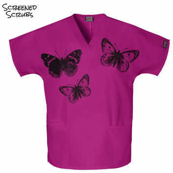 Screenprinted Nursing Uniform Butterfly Medical Scrubs Dental Hygienists Top