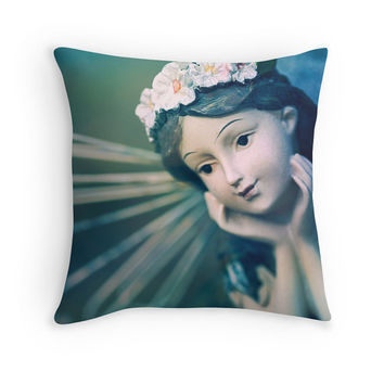 "Green Fairy Pillow Cover - Fantasy Photography Cushion, Blue, Teal, Angel Wings, Cute, Dreamy Home Decor, ""Daydreamer"""