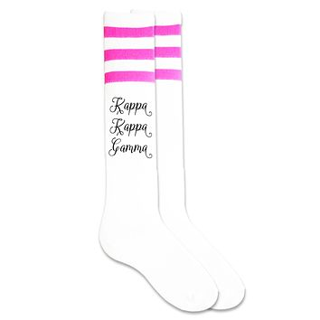 Kappa Kappa Gamma- Sorority Name in Fancy Script Font Knee High Socks