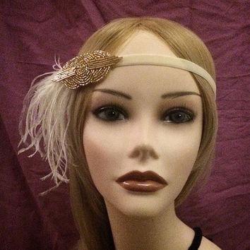 20's style gold beaded flapper headband head piece headpiece hair piece head gatsby inspired 1920s 20s flapper girl ostrich feather ivory