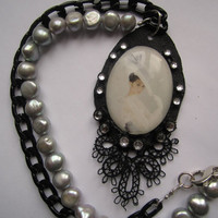 Audrey Hepburn Cameo Necklace with Chain and Freshwater Pearls OOAK