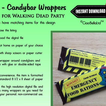 Printable Walking Dead Zombie Party Candy Bar Wrappers - INSTANT DIGITAL DOWNLOAD