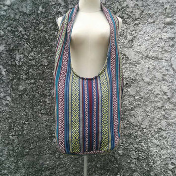 Cross body Shoulder Bag Sling Hippies Ikat Aztec handbags Fashion Hobo Boho Yam Diaper Tote Cross Tribal Style Woven Aztec Nepali Unisex