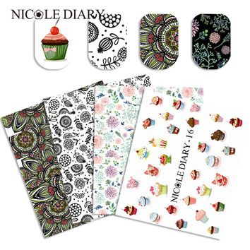 9 Sheets Floral Water Decal Nail Art Transfer Stickers Set Emoji Expression DIY Manicure Sticker for Nail Tips Decorations