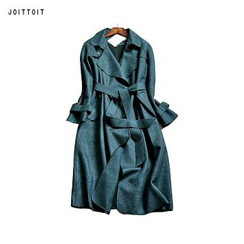 Women Autumn Winter Trench Coat 2017  Office Ladies Green Blue Pink Grey Suede Trench Coat Women Plus Size Long Trench Coat