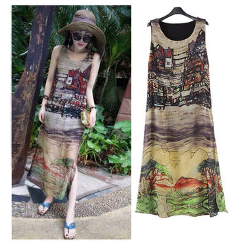 Women Sleeveless Silk Chiffon Long Maxi Dress Summer Beach Sundress S-XXXL-0407