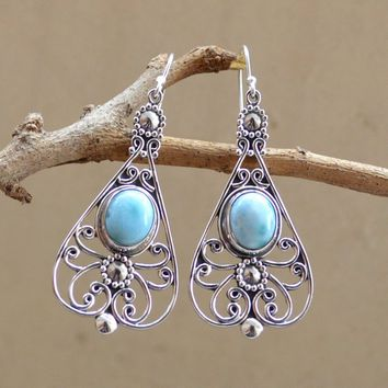 Natural Larimar Earing,925 Sterling Silver Earring,Blue Earring,Silver Earring,Caboch Larimar Dangle Earring,Birthstone Women's Jewelry Sale