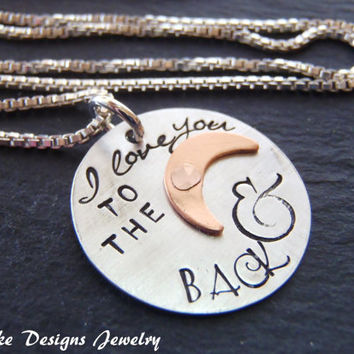 Sterling Silver I love you to the moon necklace