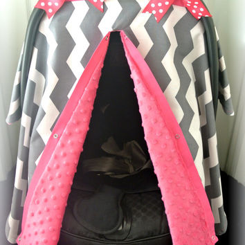 MINKY, carseat canopy, car seat cover, gray, pink, white, chevron, grey, polka dots, bows, baby, girl, baby girl, baby boy, infant boy