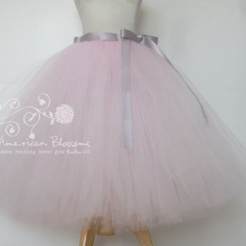 Light Pink Bridesmaid Pale Pink Tulle Skirt Tea Length Adult Pink tutu Long Teen Bridesmaid Skirt Gray Ribbon Bow Wedding American Blossoms