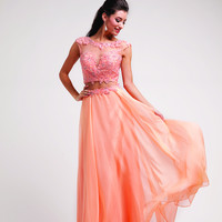 Sleeveless Long Flowy Sheer Open Sexy Back Prom Dress Beading Sequins Flowers