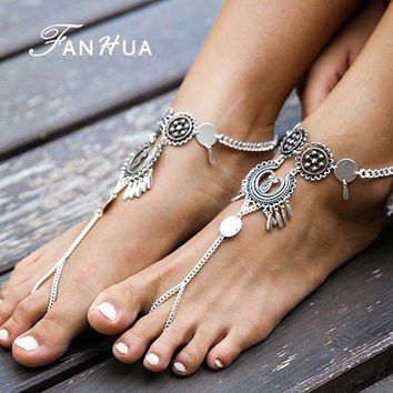 1pc Bohemian Indian Jewelry Antique Silver Hollow Flower Chain Anklets Beach Barefoot Sandals Foot Jewelry Boho Chic Anklets