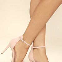 Valentina Nude Feather Ankle Strap Heels