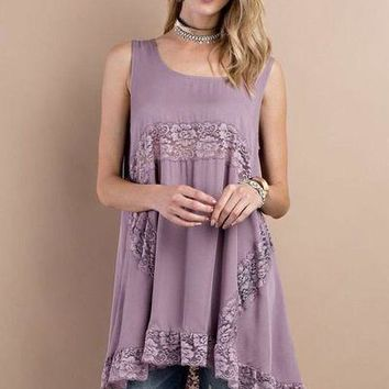 Easel lavender floral lace tunic top