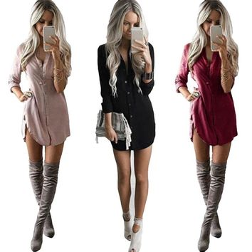Hot Fashion Women Girls Loose Long Sleeve Solid Chiffion Blouse Shirt Tops Summer Ladies Casual Blouse